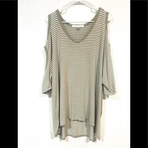 FRENCH LAUNDRY striped cold shoulder blouse green